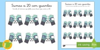 Ficha de actividad: Sumas a 20 - Invierno - guantes, frío, adición, mates, matemáticas, ,Spanish