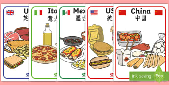 Foods Around The World Display Posters English/Mandarin Chinese - Foods Around The World Display Posters - foods, around, world, display posters, display, EAL
