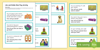 Likes and Dislikes Role Play Word Cards - KS4 Entry Level, social skills, empathy, conflict resolution,