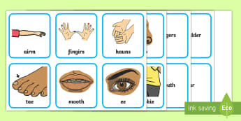Scots Language CfE Early Level Word and Picture Matching Activity Sheet - Scottish, Scotland, nursery, rhyme, cut, stick