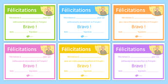 French End of Year Enthusiasm Award Certificate-French