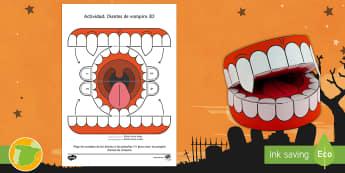 Manualidad: Dientes de vampiro 3D - Noche de brujas, dientes, drácula, diente, dentadura, artesanía, manualidades,Spanish