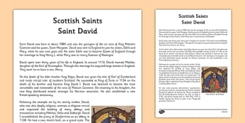 Saint David of Scotland Information Sheet - cfe, saint david, saint david of scotland, scotland, st david, information sheet