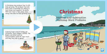 Addition and Subtraction Multistep Word Problems Christmas PowerPoint - New Zealand Maths, money, years 4-6, year 4, year 5, year 6