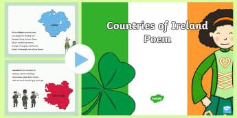 Counties of Ireland Poem PowerPoint - ireland, counties, poem, 32 counties, provinces, munster, leinster, connacht, Ulster,Irish