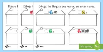 Ficha de actividad de atención a la diversidad: ¿Qué bloque lógico vive ahí? - bloques, lógicos, logicos, dienes, material, manipulativo, matemáticas, mates, pensamiento, lógic