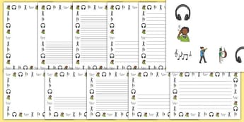 Sound And Hearing Page Borders - sounda nd hearing, sound, sounds, hearing, hear, instruments, music, tone,  page border, border, writing template, writing aid, writing