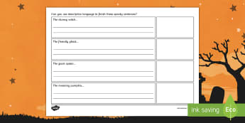 Halloween Descriptive Writing Activity Sheets - characters, 31st October, Spooky Writing, Creating characters, worksheet