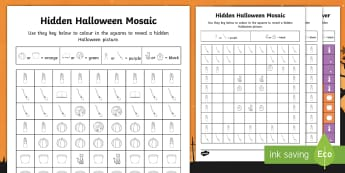 Halloween Mosaic Images Activity Sheets - Halloween, mosaic images, colouring, activity sheet, worksheet,Irish, worksheet, reveal, hidden pict