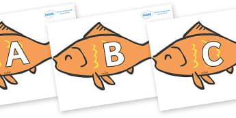 A-Z Alphabet on Goldfish - A-Z, A4, display, Alphabet frieze, Display letters, Letter posters, A-Z letters, Alphabet flashcards