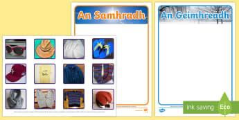 Summer and Winter Clothes Sorting Cards Gaeilge - Gaeilge, éadaí, samhradh, geimhreadh, sorting, ag sórtáil, seasons, séasúr, aimsir, weather