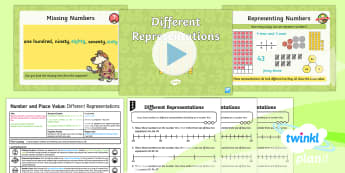 PlanIt Y2 Number and Place Value Different Representations (1) Lesson Pack - numberline, number line, representation, tens, ones, two-digit, year 2, ks1, planning, plans, ppt, p
