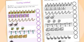 Minibeasts Cute Counting Worksheet - counting aid, count,maths