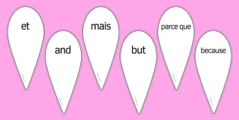 French Conjunctions Fan - french, Connectives, Words, Language