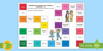 Juego de mesa: Multiplicación y división - x11 - multiplicar, dividir, mates, matemáticas, multiplciación, división, tablas de multiplicar, tabla