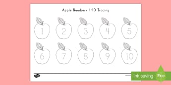 Apple Numbers 1 - 10 Tracing Activity Sheet - USA Back to School, worksheet, USA Beginning of School, USA First Day of School, Number Tracing Acti