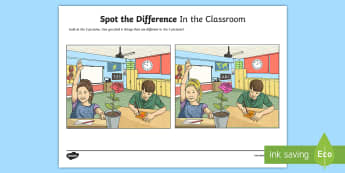 In the Classroom Spot the Difference Activity Sheet - spot the difference, oral language, speaking, games, school classroom,  talking, sLT, speech and Lan