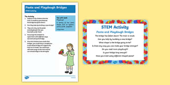Pasta and Playdough Bridges STEM Activity and Prompt Card Pack