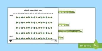 رتب اليرقة حسب الأطوال  -     مجموعة نشاط لترتيب اليرقة حسب الأطوال - مجموعة نشاط -