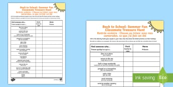 Back to School: Summer Fun Classmate Scavenger Hunt Activity - English/French - Back to School Summer Fun Classmate Scavenger Hunt - scavenger, summertime, Timw, EAL French,French-