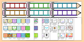 Maths Pencil Target Cards - card, targets, pencils, numeracy