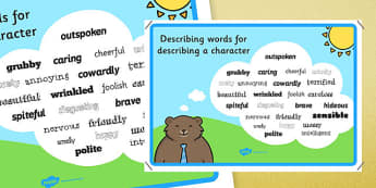 Adjectives To Describe a Character - descriptive words poster, wow words poster, character description poster, character descriptions, ks2 english, adjectives