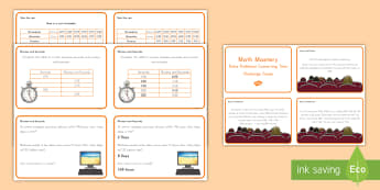 Measurement and Converting Time Math Problems Challenge Cards -  math, time, converting, math mastery, measure, measurement, solve problems, converting time, challe