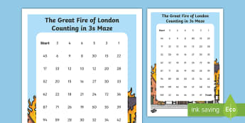 The Great Fire of London Counting in 3s Maze Activity Sheet - The Great Fire of London, fire, samuel pepys, pudding lane, london's burning, history, year 2, y2,