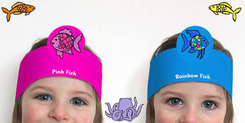 Role Play Headbands to Support Teaching on The Rainbow Fish - roleplay, prop, story book