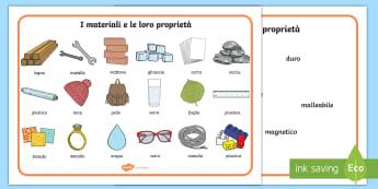 I materiali e le loro proprietà Vocabolario Illustrato - fisica, materiale, materiali, tecnica, educazione, materiale, scolastico, qualità, italiano, italia