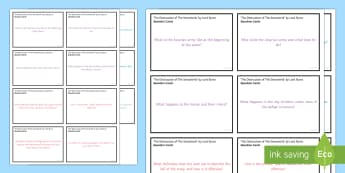 Question Cards to Support Teaching on 'The Destruction of the Sennacherib' by Lord Byron - GCSE Poetry, Lord Byron, George Gordon Byron, The Romantics, Romantic Poetry, anapaestic tetrameter,