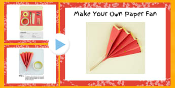 Make Your Own Paper Fan Craft Instructions PowerPoint - craft, chinese, fan, powerpoint, make, paper