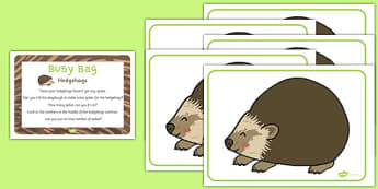 Hedgehog Busy Bag Prompt Card and Activity Pack - hedgehog, busy bag, plan, eyfs, early years, autumn