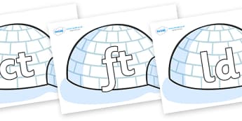 Final Letter Blends on Igloos - Final Letters, final letter, letter blend, letter blends, consonant, consonants, digraph, trigraph, literacy, alphabet, letters, foundation stage literacy