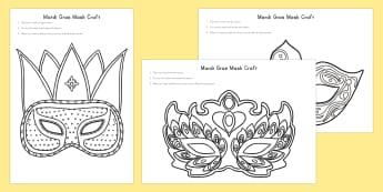 Mardi Gras Mask Craft - Mardi Gras, Mardi Gras mask, mask, celebration, occasion, design, colouring, craft