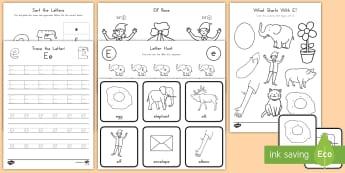 Letter E Activity Pack - Alphabet Packets, EYFS, KS1, Letter Formation, Letter Identification, Beginning Sound, Short E, Lett