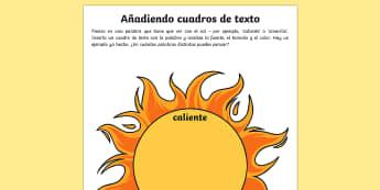 Ficha de actividad: Añadiendo cuadros de texto - cuadro de texto, fuente, tamaño, color del texto, adjetivo, describir,Spanish