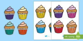 Posters d'affichage : Les mois de l'année sur des cupcakes - mois, months, poster, display, cycle 1, cycle 2, date,French