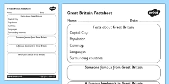Great Britain Factsheet Writing Template - great britain, great britain fact sheet, great britain fact file, great britain worksheet, facts about great britain