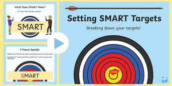 Setting SMART Targets PowerPoint - Setting SMART Targets, self assessment, termly planning, achievement, targets, child led learning, a