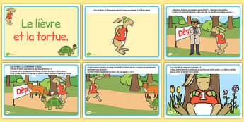 Histoire : Le Lièvre et la Tortue - cycle 1, cycle 2, lecture, histoire, compréhension écrite, français, lièvre, tortue, conte