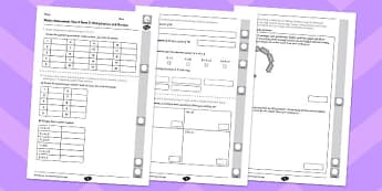 Year 4 Maths Assessment: Multiplication and Division Term 3 - year 4, maths, assessment, multiplication, division