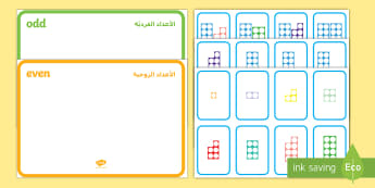 Odd and Even Number Shape Sorting Activity Arabic/English - odd, even, sorting, number, sort, number shapes EAL Arabic