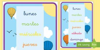 Póster DIN A4: Los días de la semana - días de la semana, calendario, póster DIN A4, exposición, exponer, decoración, decorar, días, l
