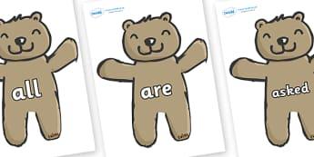 Tricky Words on Teddy Bears - Tricky words, DfES Letters and Sounds, Letters and sounds, display, words