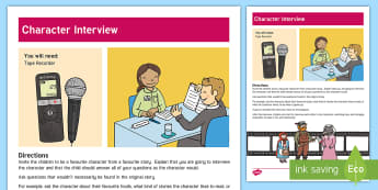 Character Interview Activity - imaginative, creative, character, act, drama, interview, questions,Australia