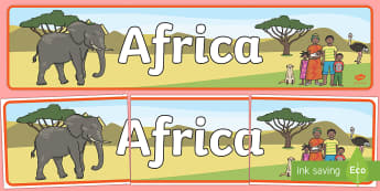 Africa Display Banner - Africa, Safari, poster, display, vines, A4, display, lion, cheetah, puma, jaguar, rhino, hippo, elephant, giraffe, antelope