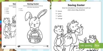 Saving Easter Subtraction Colour by Number - Children's Books, easter, bunny, eggs, story, colour, numbers, subtraction, maths