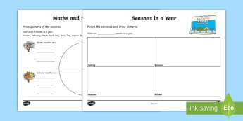 Seasons and Months Activity Sheets - NI KS1 Numeracy, seasons, months, calendar, year, worksheets