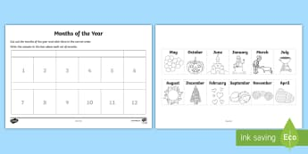 Months of the Year Cut and Stick Activity - NI  Literacy, months, cut and stick, months of the year, calendar, activities,